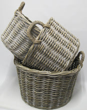 S/3 Round Baskets with Rope Handles