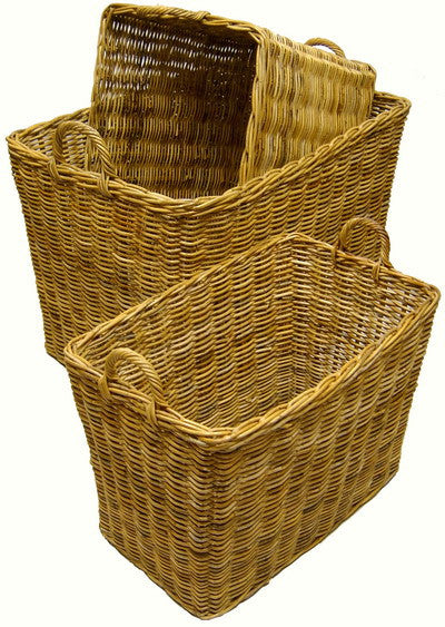 S/3 Tall Rectangle Rattan Storage Baskets