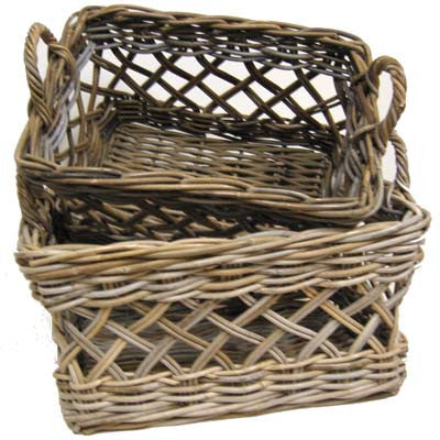 S/2 Open Weave Diamond Pattern Laundry Hampers