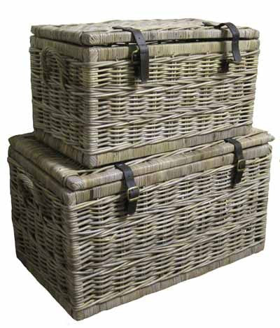S/2 Rattan Trunks with Leather Straps