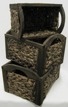CLEARANCE!! Set of 3 Rectangle Water Hyacinth and Timber Frame Storage Baskets