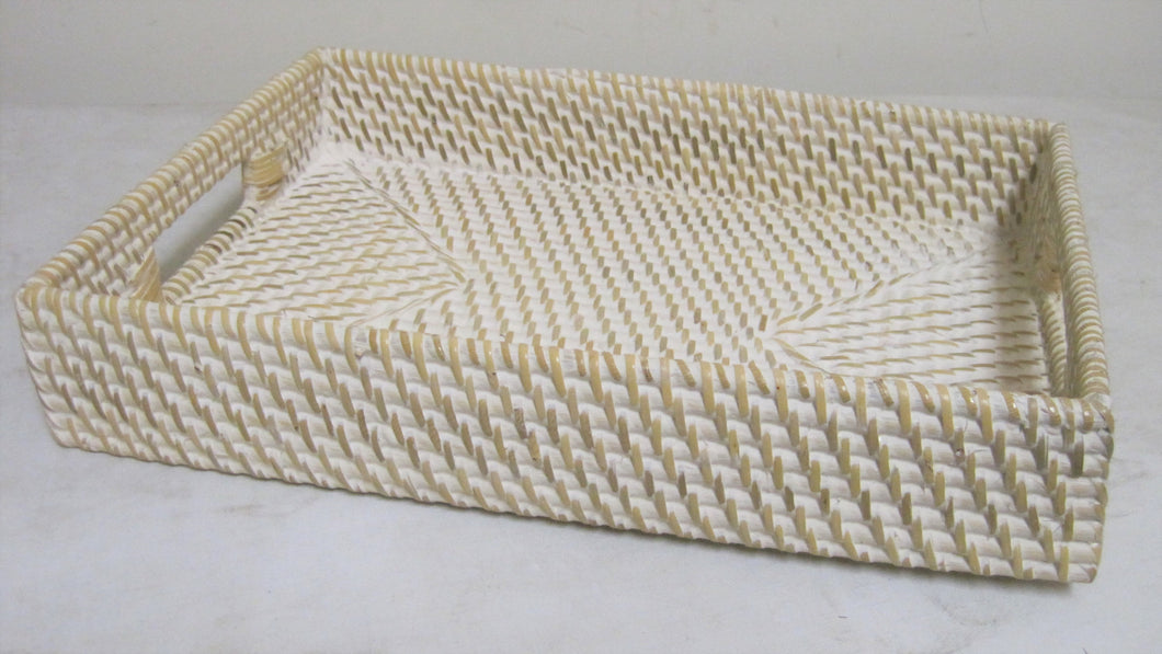 NEW!! Rattan Core White Wash Serving Tray
