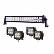 Enk 20 Inch 120W LED Work Light Bar Flood Spot Combo Beam Waterproof for Jeep Off-road SUV Ford Pickup Camper Boat Truck with 4 Pcs 4 Inch 18W Pods