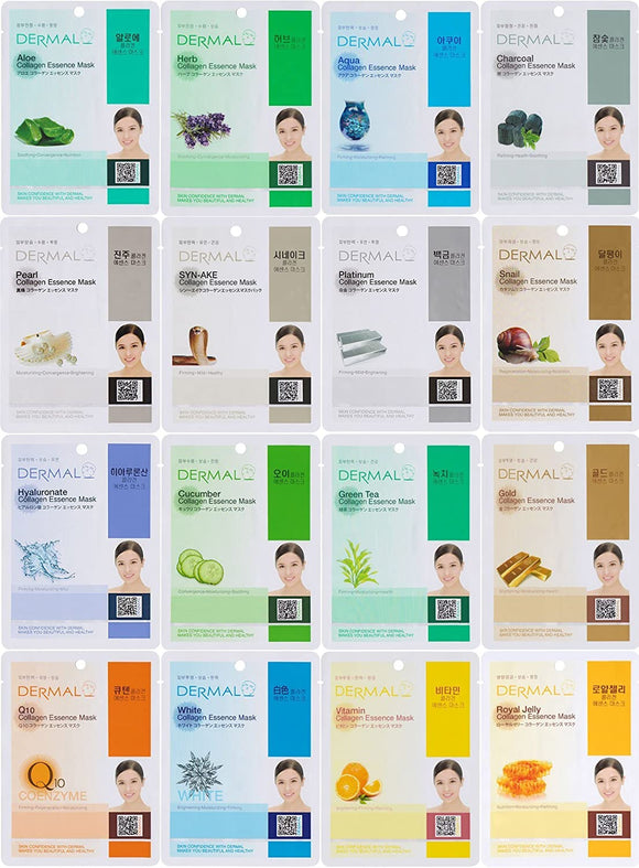 Dermal Korea Collagen Essence Facial Mask Sheet, 16 Combo Pack