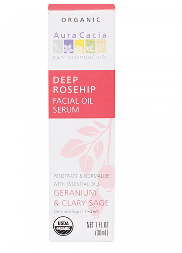 Aura Cacia Deep Rosehip Facial Oil Serum 1 fl. oz.
