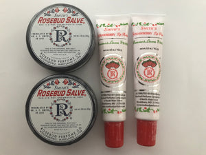 Rosebud Savle Lip Balm Pack of 4 (2 orginal tins, 2 straberry tubes)