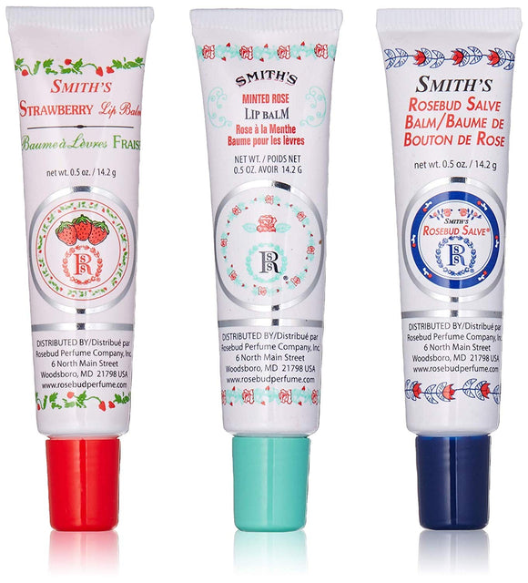 Smith's Rosebud Salves Pack of 3 ( Orignial, Minted Rose, Strawberry)