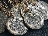 "Custom Family Crest Coat of Arms Heraldry Medallion Pendant in Pure Bronze Approx 1"" (2.4cm) diameter"