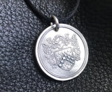Custom Family Crest Coat of Arms Heraldry Medallion Pendant in Sterling Silver