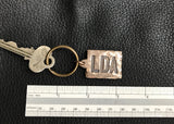 Monogrammed Custom Bronze Key Chain Fob with Rustic Hammered Finish