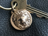 Classic Lion's Head Key Fob in Solid Bronze
