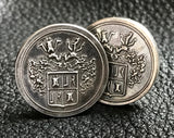 Sterling Silver Cufflinks with Family Crest or Coat of Arms Design