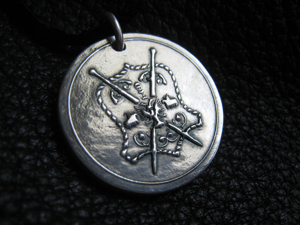Sterling Silver Pendant with Coat of Arms Heraldry - EXAMPLE