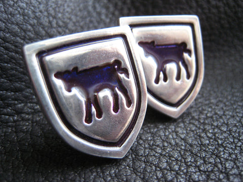 Sterling Silver Cufflinks with Purple Cow Motif Williams College