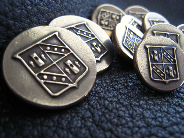 Custom BRONZE Blazer Buttons in Solid BRONZE with Coat of Arms Family Crest Heraldry design