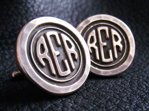 NYF Golden Bronze Cuff  Links Cufflinks Monogrammed with Larger Center Initial and Hammered Finish