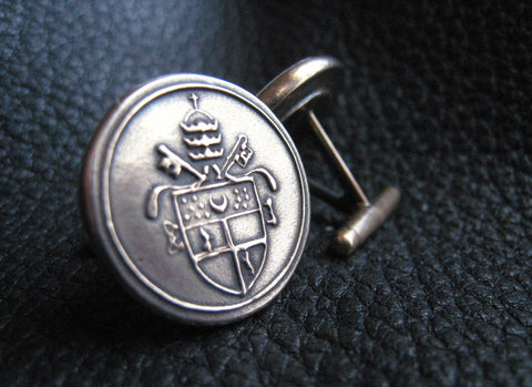 Cuff  Links Cufflinks in Solid Golden Bronze with Crest or Coat of Arms - Custom - EXAMPLE