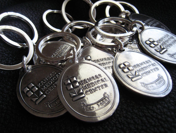 Custom Bespoke Sterling Silver Keychains Key Fob Key Ring with Business Corporate Logo Design
