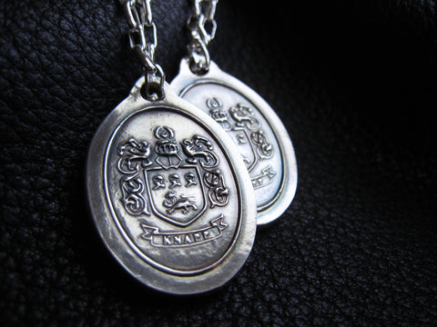 Custom Bag Tag Purse Charm  with Coat of Arms Family Crest  in Sterling Silver Custom - EXAMPLE