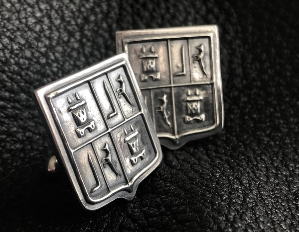 EXAMPLE - Sterling Silver  Cuff  Links Cufflinks with Custom Designed Family Crest  Coat of Arms