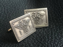 Cuff  Links Cufflinks in Solid Golden Bronze with Art Deco Falcon Design