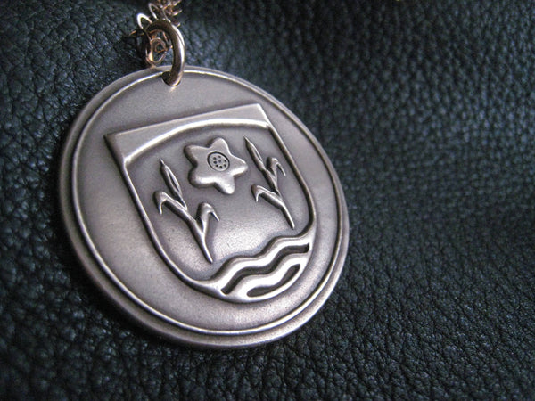 Pendant Necklace in Solid Golden Bronze with  Family Crest Coat of Arms - EXAMPLE