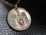Family Crest Coat of Arms Heraldry Medallion Pendant Necklace in Solid Bronze