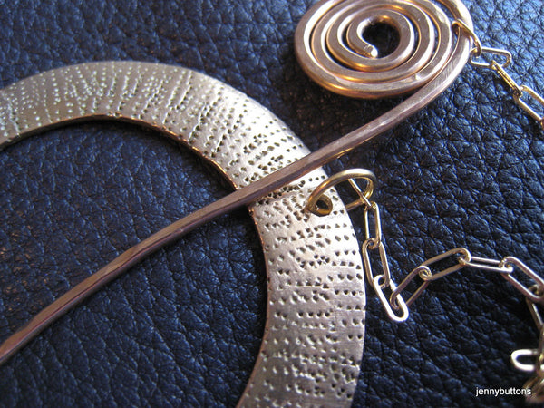 Together Forever Shawl Pin - Celtic Spiral in Stippled Bronze