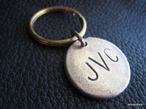 Personalized Key Chain Keychain in Solid Bronze Monogrammed - Slings and Arrows