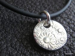 Happy Flower Fine Silver Pendant with Floral Design Retro 60's look