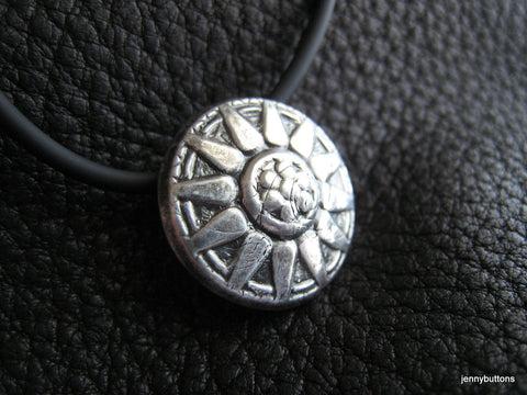 Sunny Day Fine Silver Sunflower Pendant with Rubber Cord
