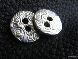 "Double Cloud Fine Silver 5/8""  Button"