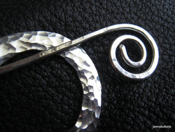 Thorina  Fine Silver Hammered Shawl Pin Brooch Ring and Sterling Silver Hammered Wire Stick
