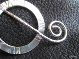 Shawl Pin -Cuneiform Sterling Silver Hammered Shawl Pin Brooch Ring and Hammered Wire Stick