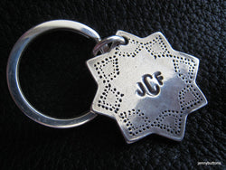 Moorish Star Personalized Key Chain Keychain Fob in Sterling Silver Monogrammed