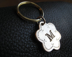 Personalized Key Chain Keychain in Solid Bronze Monogrammed - Quilter's Flower