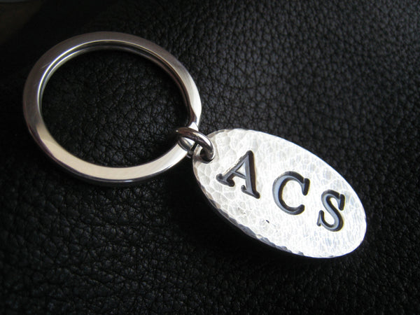Opulent Oval Personalized Key Chain Keychain in Hand Hammered Sterling Silver Monogrammed