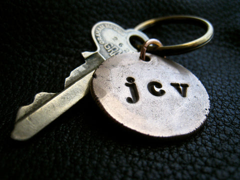 Personalized Monogrammed Key Chain Keychain in Solid Hammered Bronze  - Lower Case