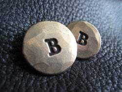 Monogrammed Bronze Blazer Buttons Set - Hand Hammered Finish - Single Initial