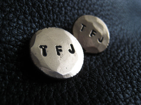 Monogrammed Bronze Blazer Buttons Set - Hand Hammered Finish - Three Small Initials