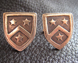 Cuff Links -Golden Bronze Cuff  Links Cufflinks with Custom Designed Crest - Example