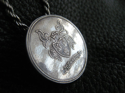 Sterling Silver Medallion Pendant with Family Crest Coat of Arms Heraldry  - EXAMPLE