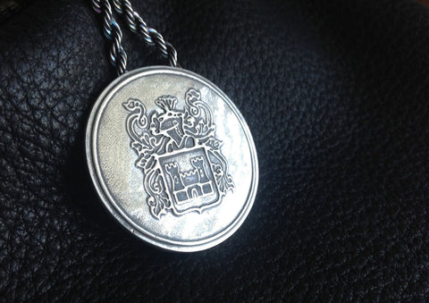 Family Crest Coat of Arms Heraldry Medallion Pendant in Fine Silver - Custom - EXAMPLE