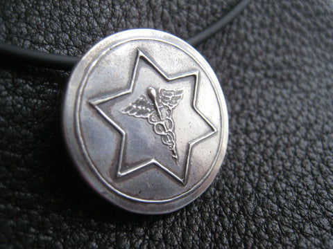 Medical ID Medic Alert Necklace Pendant Medallion in Fine Silver - EXAMPLE