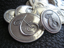 Custom Blazer Buttons in Fine Silver Monogram Logo Initials Personalized 25th Anniversary Wedding