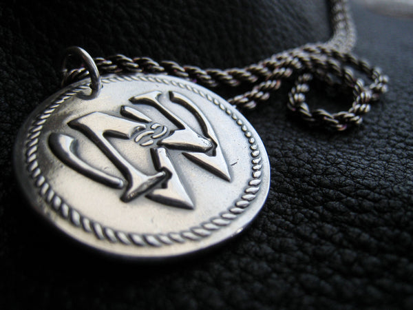 Custom Logo  Medallion Pendant in Fine Silver with Sterling Chain