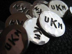 Solid Silver Monogrammed Blazer Buttons with Three Block Letter Monogram and Hand Hammered Finish