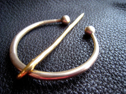 Solid Bronze Celtic Penannular Shawl Pin Brooch Fastener Clasp