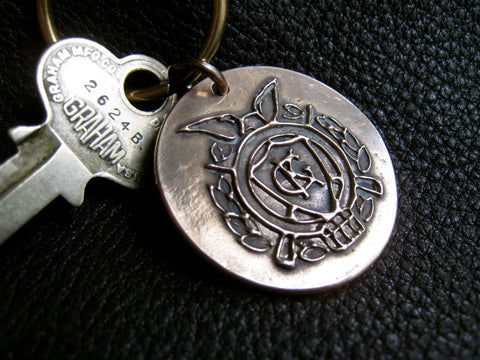 Key Ring Fob Chain with Club Crest Coat of Arms in Solid Bronze and Brass - Custom -