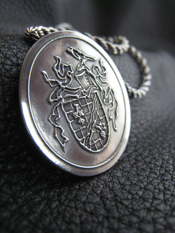 Custom Sterling Silver Family Crest Coat of Arms Medallion Pendant Necklace with Inscription on Back